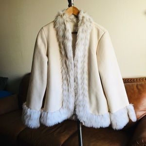 White House /Black Market  Faux Fur Lined Jacket
